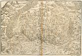 Antique woodcut town view of Colmar, Alsace. Printed in Basle by Petri in 1575.