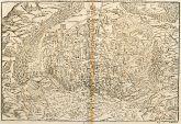 Antike Holzschnitt-Ansicht von Colmar, Elsass. Gedruckt bei Petri im Jahre 1575 in Basel.