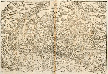 Antike Landkarten, Münster, Frankreich, Elsass, Colmar, 1575: La uera dipintura di Colmaria citta & del compo, che la circonde.
