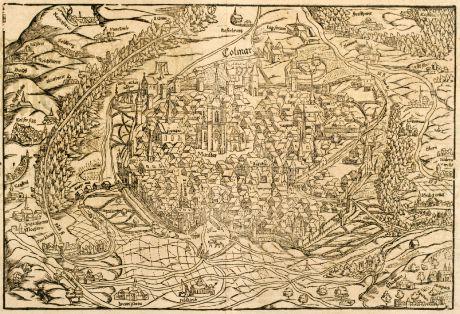Antike Landkarten, Münster, Frankreich, Elsass, Colmar, 1550: Die Statt Colmar contrafehtet nach aller ihrer Gelegenheit / sampt umbligender Landschafft