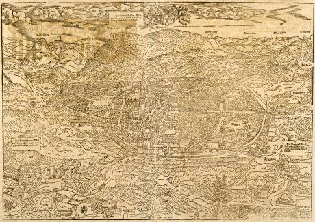 Antike Landkarten, Münster, Frankreich, Elsass, Weißenburg, 1580: Weissenburg mit umbligender Landtschaffe auff das allerfleissigest nach aller Gelegenheit Contrafehtet.