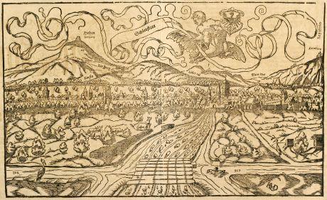 Antique Maps, Münster, France, Alsace, Selestat, 1550: Schlettstatt / etwann ein Dorff deß H. Römischen Reichs: aber jetz ein zierliche Statt.
