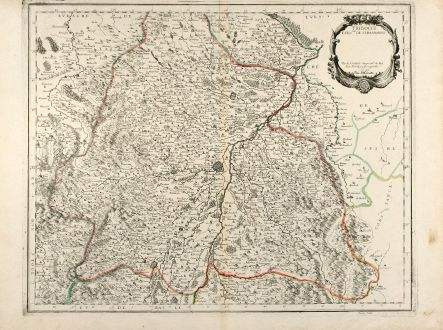 Antique Maps, Sanson, France, Alsace, Strasbourg, 1659: Tribocci Evesché de Strasbourg