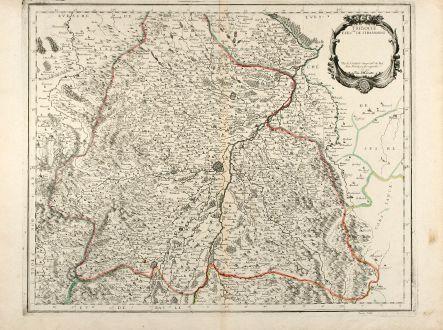 Antike Landkarten, Sanson, Frankreich, Elsass, Straßburg, 1659: Tribocci Evesché de Strasbourg