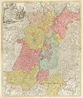 Antike Landkarten, Homann, Frankreich, Elsass, Breisgau, Oberrhein, Hochrhein: Landgraviatus Alsatiae tam Superioris quam Infericum utroque Marchionatu Badensis