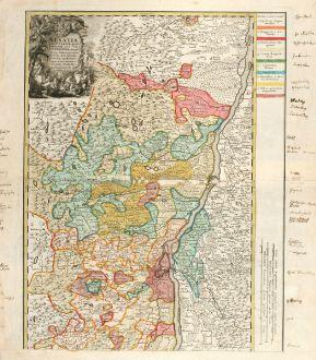 Antike Landkarten, Homann Erben, Frankreich, Elsass, Oberrhein, 1750: Alsatia tam Superior, quam inferior una cum Sundgovia, utraque in suos Status provincia les divisa & ex subsidus veteribus...