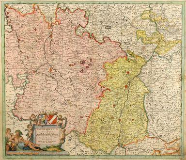 Antike Landkarten, Danckerts, Frankreich, Lothringen, Elsass, Breisgau, 1696: Lotharingiae et Utriusque Alsatiae