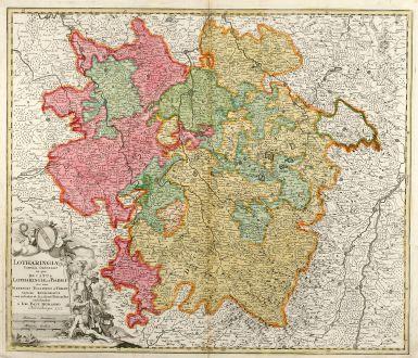 Antike Landkarten, Homann, Frankreich, Lothringen, 1712: Lotharingiae Tabula Generalis in qua Ducatus Lotharingiae et Barri nec non Metensis, Tullensis et Verdunensis Episcopatus
