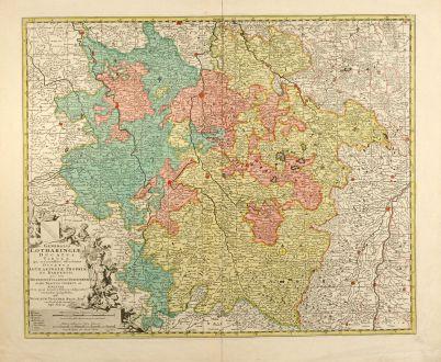 Antike Landkarten, Visscher, Frankreich, Lothringen, 1680: Generalis Lotharingiae Ducatus Tabula ...