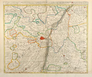 Antike Landkarten, Allard, Frankreich, Elsass, Straßburg, 1700: Argentorati Territorium, vulgo Strasburger Gebiet