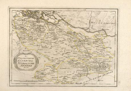 Antike Landkarten, Reilly, Deutschland, Niedersachsen, Lüneburg, 1795: Des Fürstenthums Lüneburg Nördliche Aemter