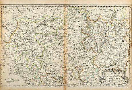 Antique Maps, Sanson, France, Ile-de-France, Lorraine, Champagne, 1648: Isle de France, Champagne, Lorraine
