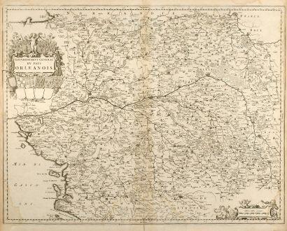 Antike Landkarten, Blaeu, Frankreich, Centre, Limousin, Poitou-Charentes, 1660: Gouvernement General du Pays Orleanois