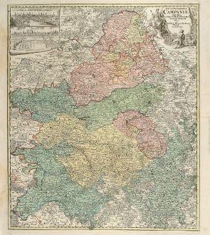 Antike Landkarten, Homann, Frankreich, Champagne-Ardenne, 1730: Tabula Geographica Campaniae