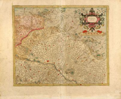 Antike Landkarten, Mercator, Frankreich, Elsass, Straßburg, 1595: Alsatia inferior