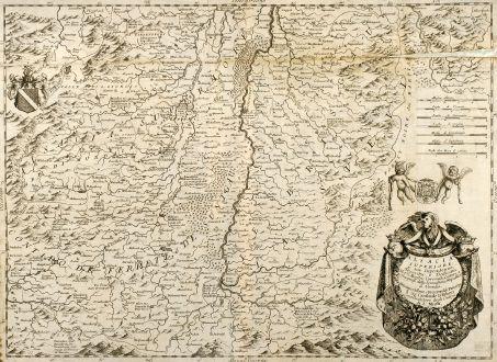 Antike Landkarten, Coronelli, Frankreich, Elsass, Breisgau, Schwarzwald, 1691: Alsacia Superiore e sue Dipendenze, Desscritta, e Dedicata Dal P. Maestro Coronelli Lettore e Cosmografo della Serenißima...