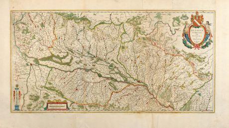 Antike Landkarten, Blaeu, Frankreich, Elsass, Breisgau, Oberrhein, Hochrhein: Alsatia Landgraviatus, cum Suntgoia et Brisgola. Ger. Mercatore Auctore.