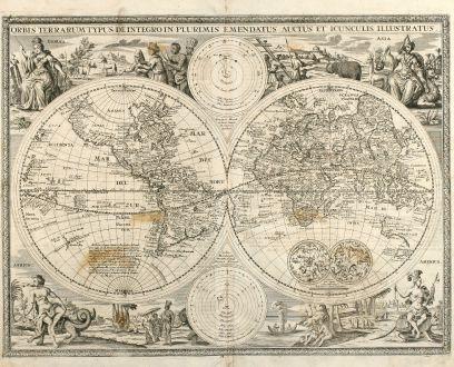 Antike Landkarten, Anonymous, Weltkarten, 1716: Orbis Terrarum Typus de Integro in Plurimis Emendatus Auctus et Icunculis Illustratus