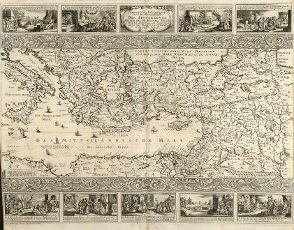 Antike Landkarten, Anonymous, Mittelmeer, Palästina, Israel, 1716: Geographische Beschreibung von der Wanderschaft der Apostelen und Reisen des H. Apostels Pauli