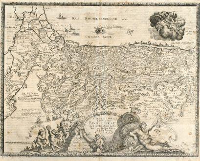 Antike Landkarten, Anonymous, Heiliges Land, Israel, 1716: Viertzig Iährige Reysen der Kinder Israel aus Egypten durch das Rothe Meer und Wüsten bis ins Gelobte Land Canaan.