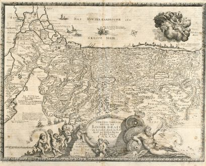Antique Maps, Anonymous, Holy Land, Israel, 1716: Viertzig Iährige Reysen der Kinder Israel aus Egypten durch das Rothe Meer und Wüsten bis ins Gelobte Land Canaan.
