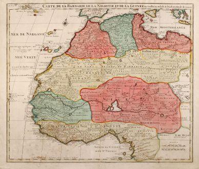 Antike Landkarten, de l Isle, Westafrika, Nordwest Afrika, 1700: Carte De La Barbarie Le La Nigritie Et De La Guinee