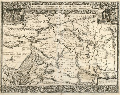Antique Maps, Anonymous, Middle East, Mediterranean, Cyprus, Iraq, Iran: Die Gelegenheit des Paradeis und des Landes Canaan, sambt den erst Bewohnten Länderen der Patriarchen aus H. Schrift u...