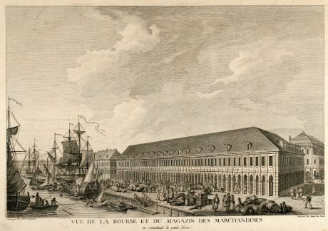 Antique Maps, de Lespinasse, Russia, Saint Petersburg, 1783: Vue de la Bourse et du Magazin des Marchandises en remontant la petite Neva