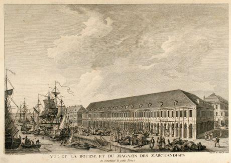 Antike Landkarten, de Lespinasse, Russland, St. Petersburg, 1783: Vue de la Bourse et du Magazin des Marchandises en remontant la petite Neva