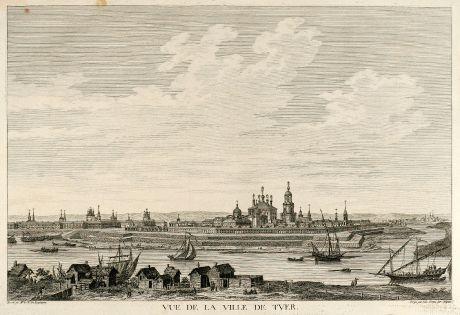 Antique Maps, de Lespinasse, Russia, Tver, Kalinin, 1783: Vue de la Ville de Tver