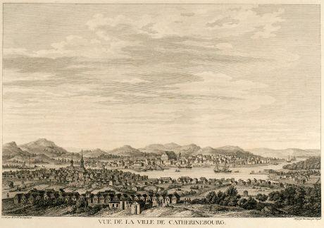 Antike Landkarten, de Lespinasse, Russland, Yekaterinburg, Sverdlovsk, 1783: Vue de la Ville de Catherinebourg