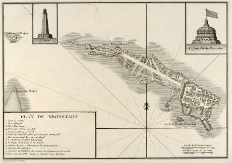 Antike Landkarten, Tardieu, Russland, Kronstadt, Kotlin, St. Petersburg, 1783: Plan de Kronstadt