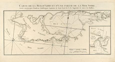 Antike Landkarten, Tardieu, Russland, Krim, Schwarzes Meer, Asowsches Meer, 1783: Carte de la Mer d'Azof et d'une Partie de la Mer Noire