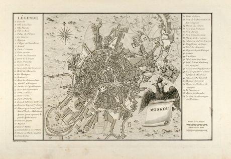 Antike Landkarten, Tardieu, Russland, Moskau, 1783: Moskou