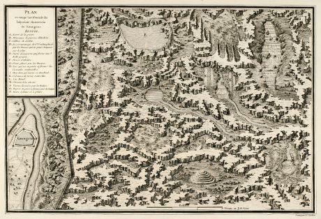 Antike Landkarten, Tardieu, Russland, Kungur, Perm, Ural, 1783: Plan et coupe horisontale du labyrinte souterrain de Koungour Renvoi.