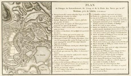 Antique Maps, Tardieu, Romania - Moldavia, Danube, Tulcea, Izmail, 1783: Plan de l'Attaque du Retranchement, du Camp, et de la Flotte des Turcs par le Gal. Weisman, près de Tultschi, le 30 Juin...
