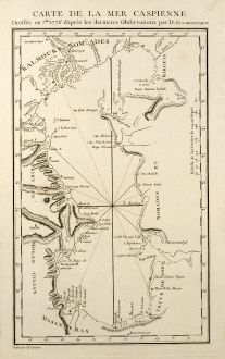 Antique Maps, Tardieu, Russia, Caspian Sea, 1783: Carte de la Mer Caspienne