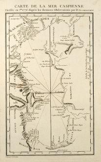 Antike Landkarten, Tardieu, Russland, Kaspisches Meer, 1783: Carte de la Mer Caspienne