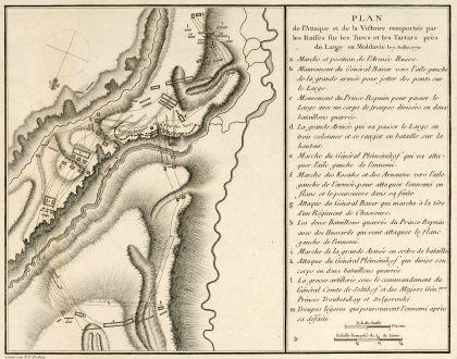 Antike Landkarten, Tardieu, Rumänien - Moldawien, Schlacht von Large, 1783: Plan de l'Attaque & de la Victoire remportée par les Russes sur les Turcs et les Tartars près du Large en Moldavie le 7...