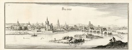 Antique Maps, Merian, France, Blois, Loire, 1657: Blois