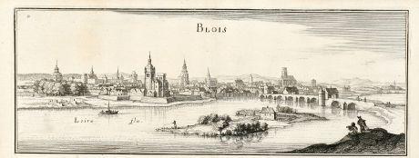 Antike Landkarten, Merian, Frankreich, Blois, Loire, 1657: Blois