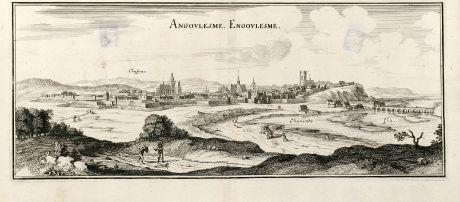 Antike Landkarten, Merian, Frankreich, Angouleme, Charente, 1657: Angoulesme. Engoulesme.