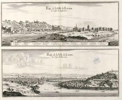 Antique Maps, Merian, France, Lyon, 1657: Prosp: de la Ville de Lyon, du Coste de Septentrio / Prosp: de la Ville de Lyon, du Coste de Meridies.