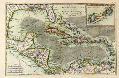 Antique Maps, Bonne, Central America - Caribbean, Caribbean Sea, Bermuda: Les Isles Antilles et le Golfe du Mexique.