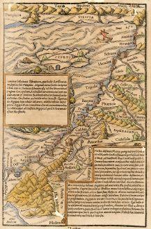 Antike Landkarten, Münster, Heiliges Land, Palästina, Israel, Zypern, 1550: [Holy Land, Cyprus]