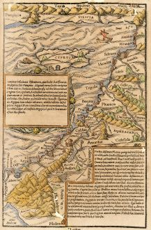 Antique Maps, Münster, Holy Land, Palestine, Israel, Cyprus, 1550: [Holy Land, Cyprus]