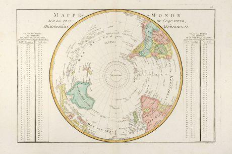 Antique Maps, Bonne, Southern Hemisphere, 1780: Mappe-Monde Sur Le Plan De L'Equateur Hémisphère Méridional.