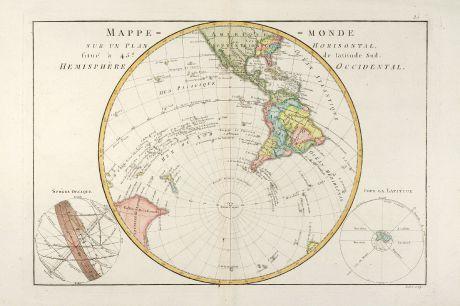 Antike Landkarten, Bonne, Südwestliche Hemisphäre, 1780: Mappe-Monde sur un Plan Horisontal, situé à 45d de latitude Sud. Hemisphère Occidental.
