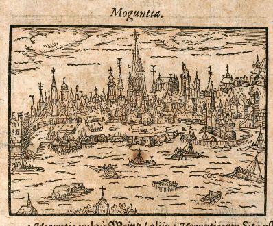 Antike Landkarten, Saur, Deutschland, Mainz, Hanau, 1608: Moguntia / Hanouia