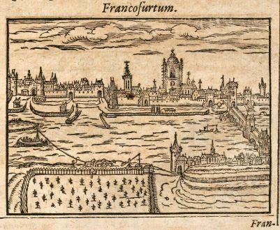 Antike Landkarten, Saur, Deutschland, Frankfurt am Main / Schweinfurt, 1608: Francofurtum / Schuueinfurdia